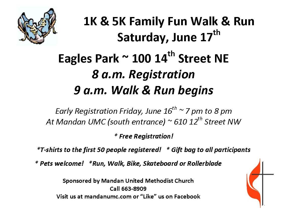 1K & 5K Family Fun Walk & Run early registration @ Eagles Park   Mandan   North Dakota   United States