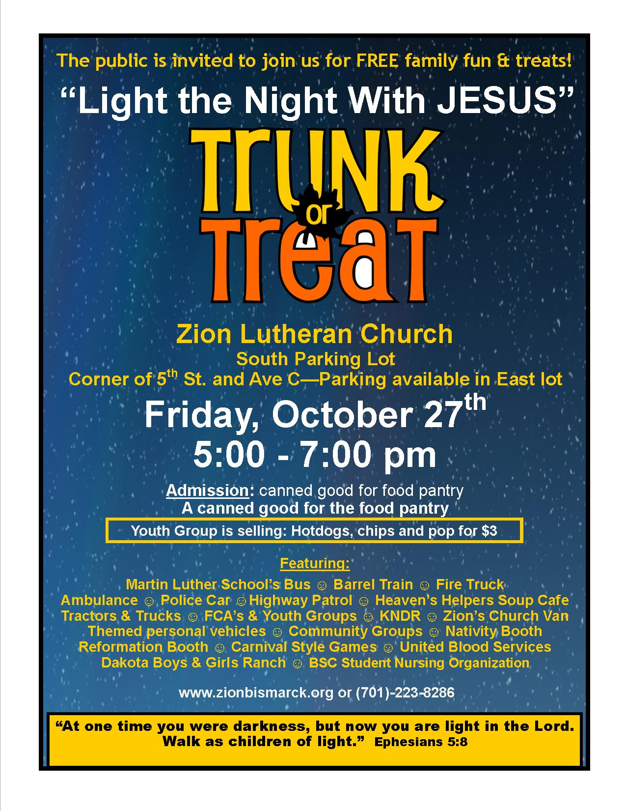"""Light the Night With Jesus"" Trunk or Treat @ Zion Lutheran Church 